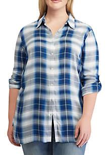 Plus Size Plaid Twill Shirt