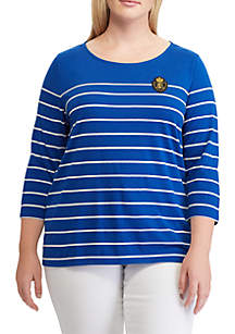 Plus Size Crest Striped Jersey Top
