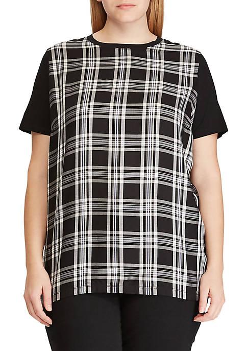 Lauren Ralph Lauren Plus Size Plaid-Panel T-Shirt
