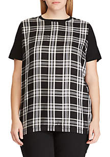 Lauren Ralph Lauren Plus Size Plaid-Panel T-Shirt