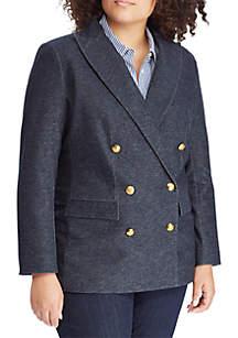 Plus Size Knit Denim Twill Blazer