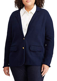 Plus Size Ruffle-Trim Cotton Blazer