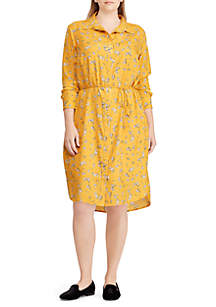 Plus Size Floral-Print Shirt Dress