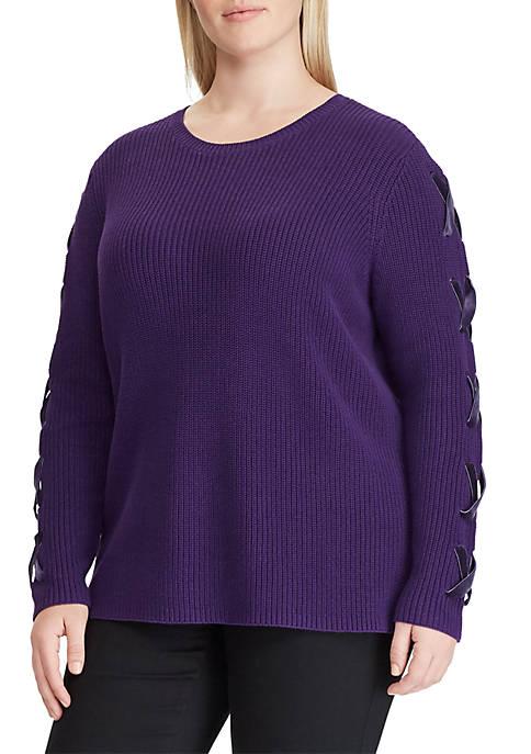 Lauren Ralph Lauren Plus Size Lace-Up Cotton Sweater