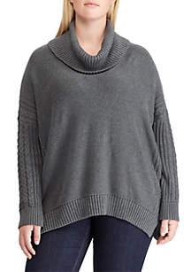 Plus Size Cotton Cowlneck Sweater