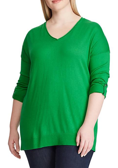 Plus Size Tab Sleeve Silk Blend Sweater