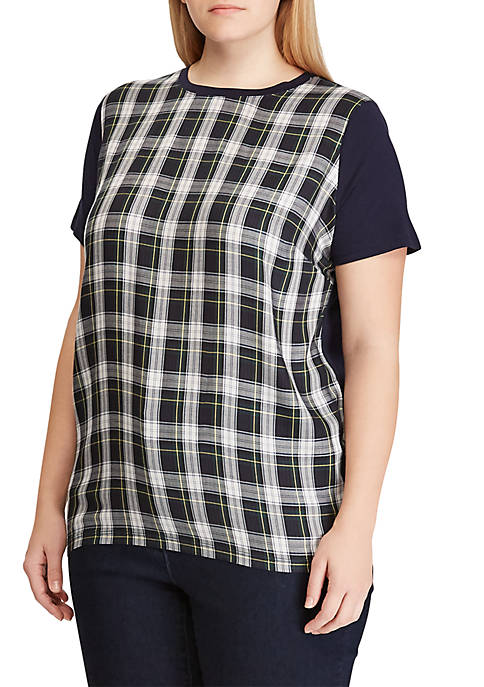 Plus Size Darbay Plaid Mixed Medium T-Shirt