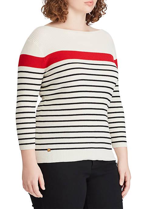 Lauren Ralph Lauren Plus Size Cotton-Blend Boatneck Sweater