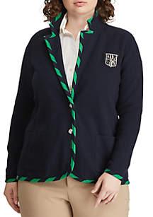 Lauren Ralph Lauren Plus Size Cotton Blend Blazer