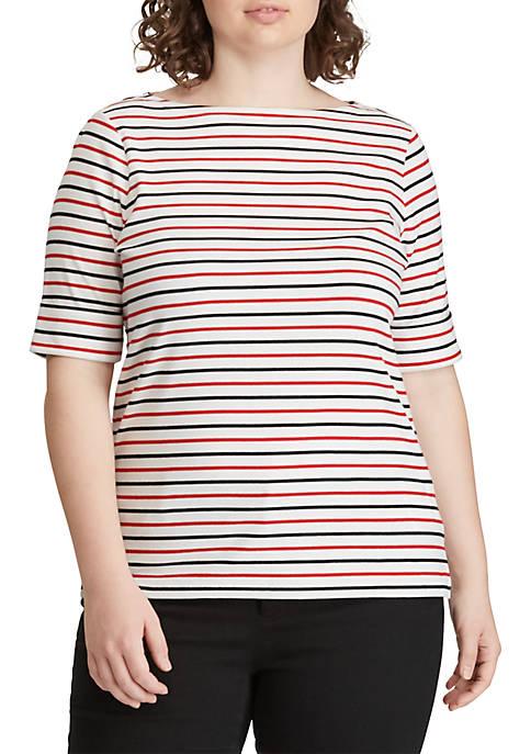 Lauren Ralph Lauren Plus Size Cotton Boat-Neck Top
