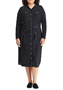 Plus Size Striped Jersey Shirt Dress