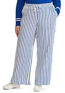 Plus Size Striped Drawcord Twill Pants