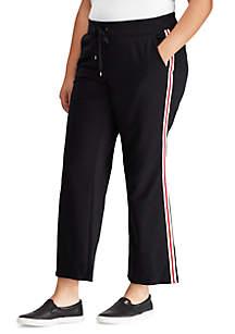 Plus Size Striped Cotton-Blend Sweatpant