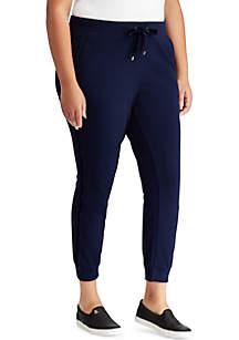 Plus Size Velvet-Trim Cotton Jogger Pants