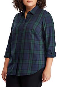 Plus Size LRL-Patch Tartan Cotton Shirt