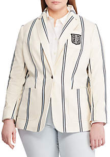 Lauren Ralph Lauren Plus Size Bullion-Patch Striped Blazer