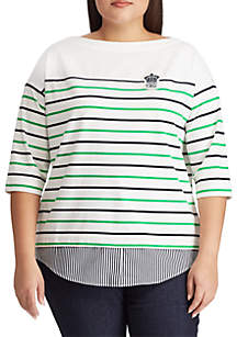 Lauren Ralph Lauren Plus Size Logo-Patch Striped Jersey Top