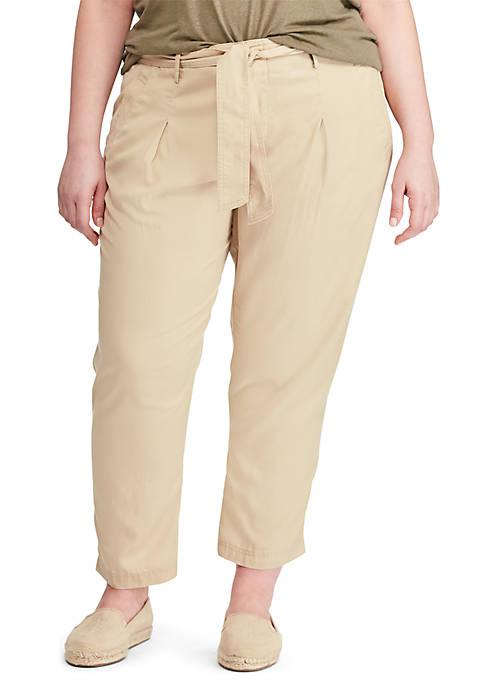 Lauren Ralph Lauren Plus Size Belted Twill Pants