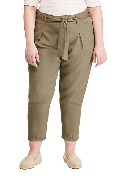 Plus Size Belted Twill Pants