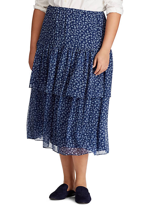 Plus Size Print Georgette Tiered Skirt