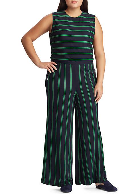 Lauren Ralph Lauren Plus Size Striped Button-Trim Jumpsuit