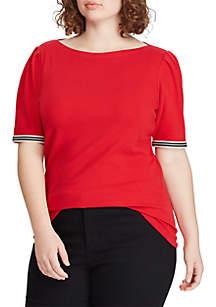 Lauren Ralph Lauren Plus Size Ribbon-Sleeve Boatneck Top