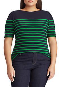 Lauren Ralph Lauren Plus Size Puffed Elbow-Sleeve Stretch Cotton Top