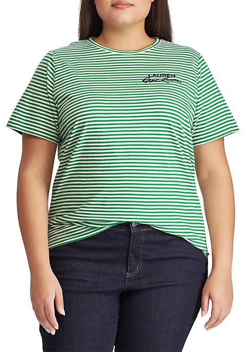 Lauren Ralph Lauren Plus Size Logo Striped Cotton