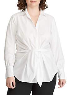 35a4bbecebdca ... Utility Top · Lauren Ralph Lauren Plus Size Tie-Front Cotton Shirt