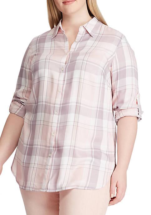 Plus Size Plaid Twill Button Down Shirt
