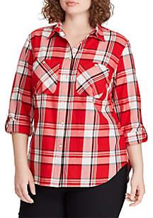 Lauren Ralph Lauren Plus Size Plaid Cotton-Twill Shirt