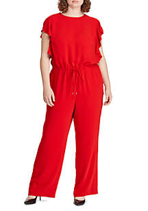 Lauren Ralph Lauren Plus Size Ruffle-Trim Twill Jumpsuit