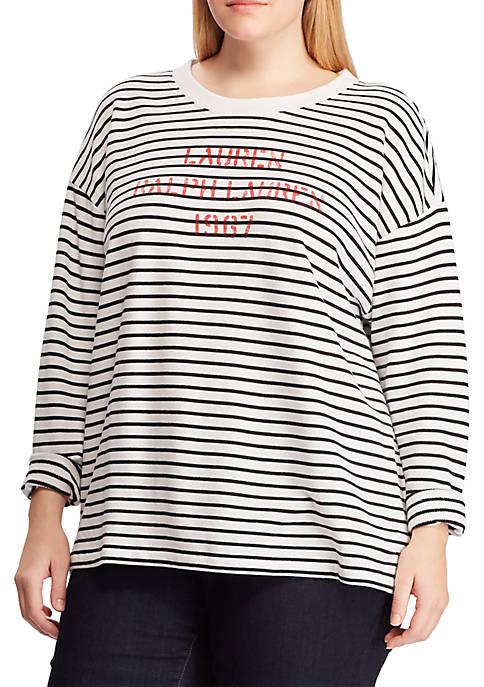 Lauren Ralph Lauren Plus Size Logo Striped Terry