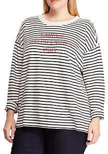 5daaa507ea1 ... Lauren Ralph Lauren Plus Size Logo Striped Terry Sweatshirt