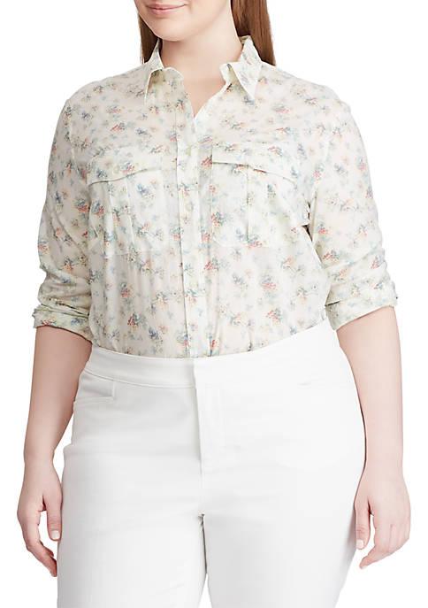 Lauren Ralph Lauren Plus Size Floral Cotton Shirt