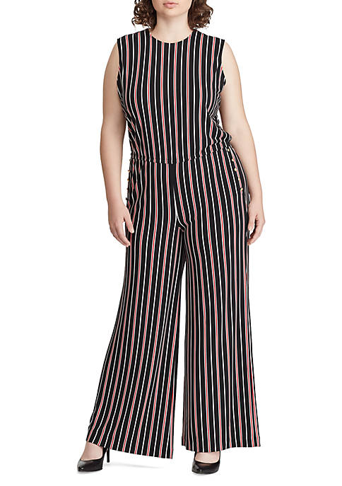 a25e71b90259 Lauren Ralph Lauren Plus Size Striped Button-Trim Jumpsuit