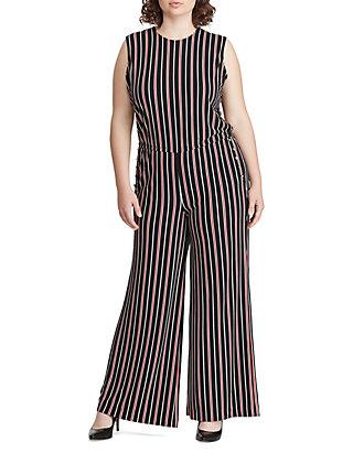 200282b36306 Lauren Ralph Lauren Plus Size Striped Button-Trim Jumpsuit | belk