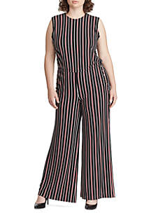 57e0eed45fd ... Lauren Ralph Lauren Plus Size Striped Button-Trim Jumpsuit