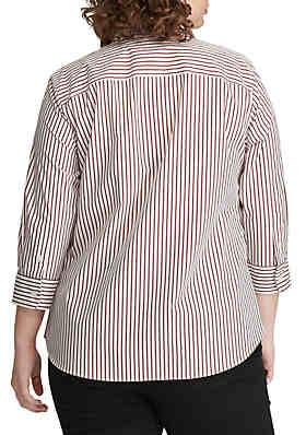 ff3d159930b ... Lauren Ralph Lauren Plus Size No-Iron Striped Button-Down Shirt