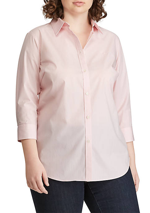 Plus Size No-Iron Striped Button-Down Shirt
