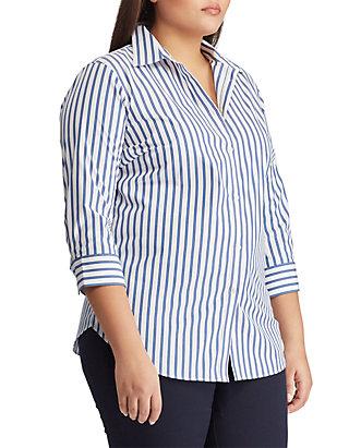 ce8dd8f1 Lauren Ralph Lauren. Lauren Ralph Lauren Plus Size No Iron Striped Button  Down Shirt
