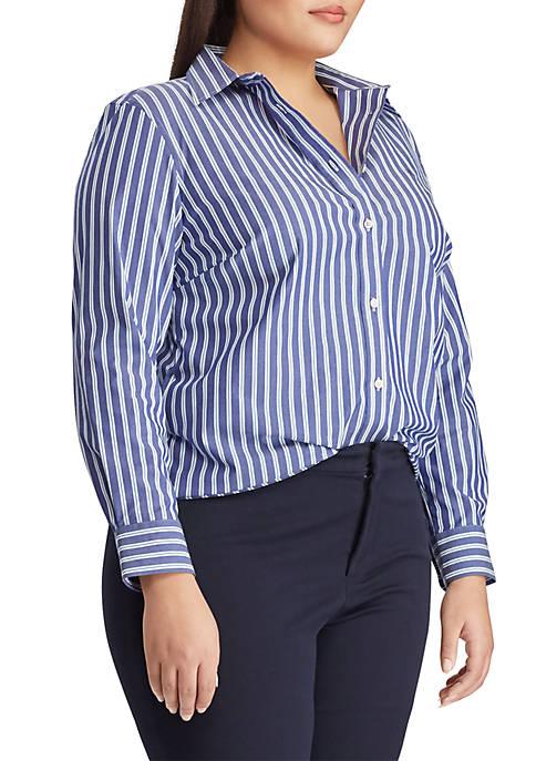 Lauren Ralph Lauren Plus Size Embroidered Striped Button