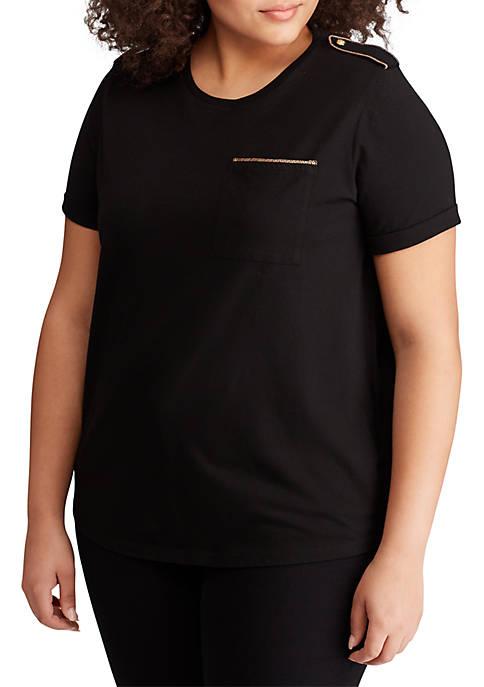 Lauren Ralph Lauren Plus Size Cotton-Blend Pocket Tee