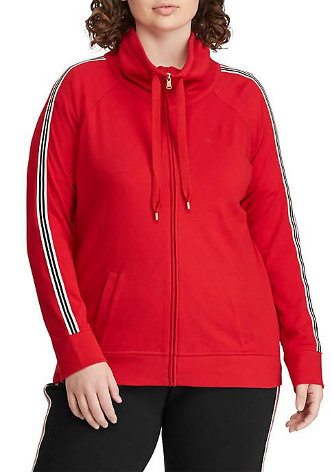 Lauren Ralph Lauren Plus Size Cotton Funnelneck Jacket