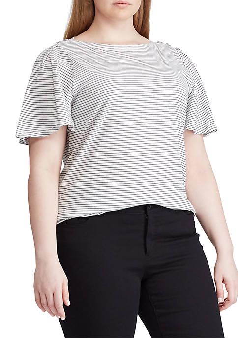 Plus Size Jersey Flutter-Sleeve Top