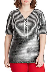 83eae0d65 ... Lauren Ralph Lauren Plus Size Striped Lace Up Linen Blend Top