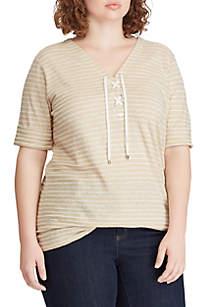 Lauren Ralph Lauren Plus Size Striped Lace Up Linen Blend Top