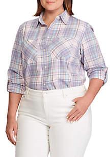 786fa8f0d ... Lauren Ralph Lauren Plus Size Plaid Cotton Twill Shirt