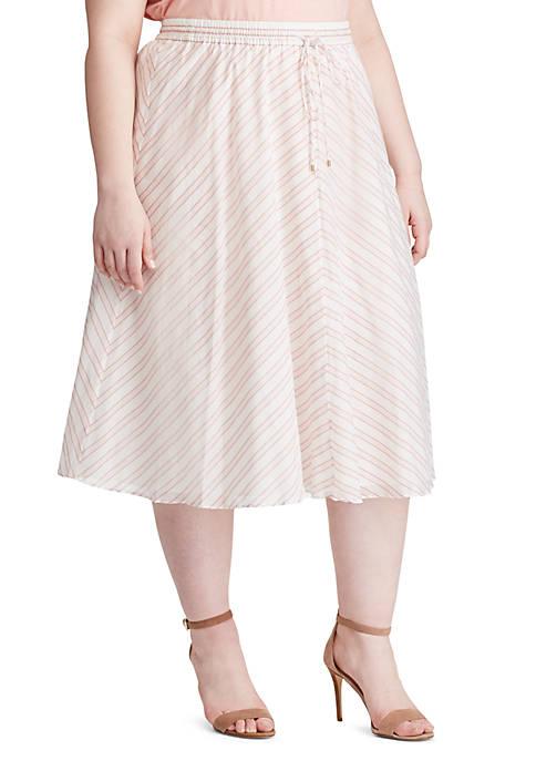 Plus Size Mitered Stripe Cotton Skirt