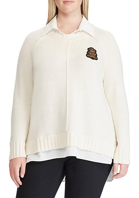 Lauren Ralph Lauren Plus Size Bullion-Patch Layered Shirt
